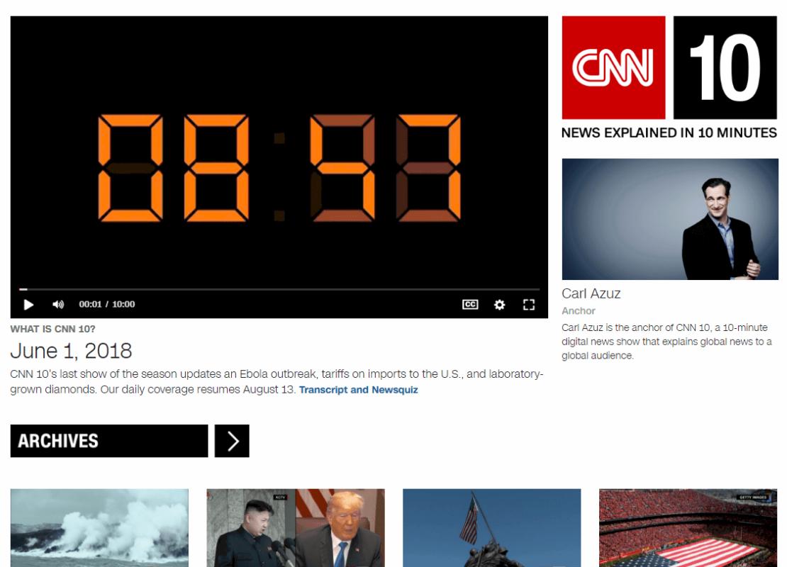 CNN Student News - website luyện nghe IELTS hiệu quả
