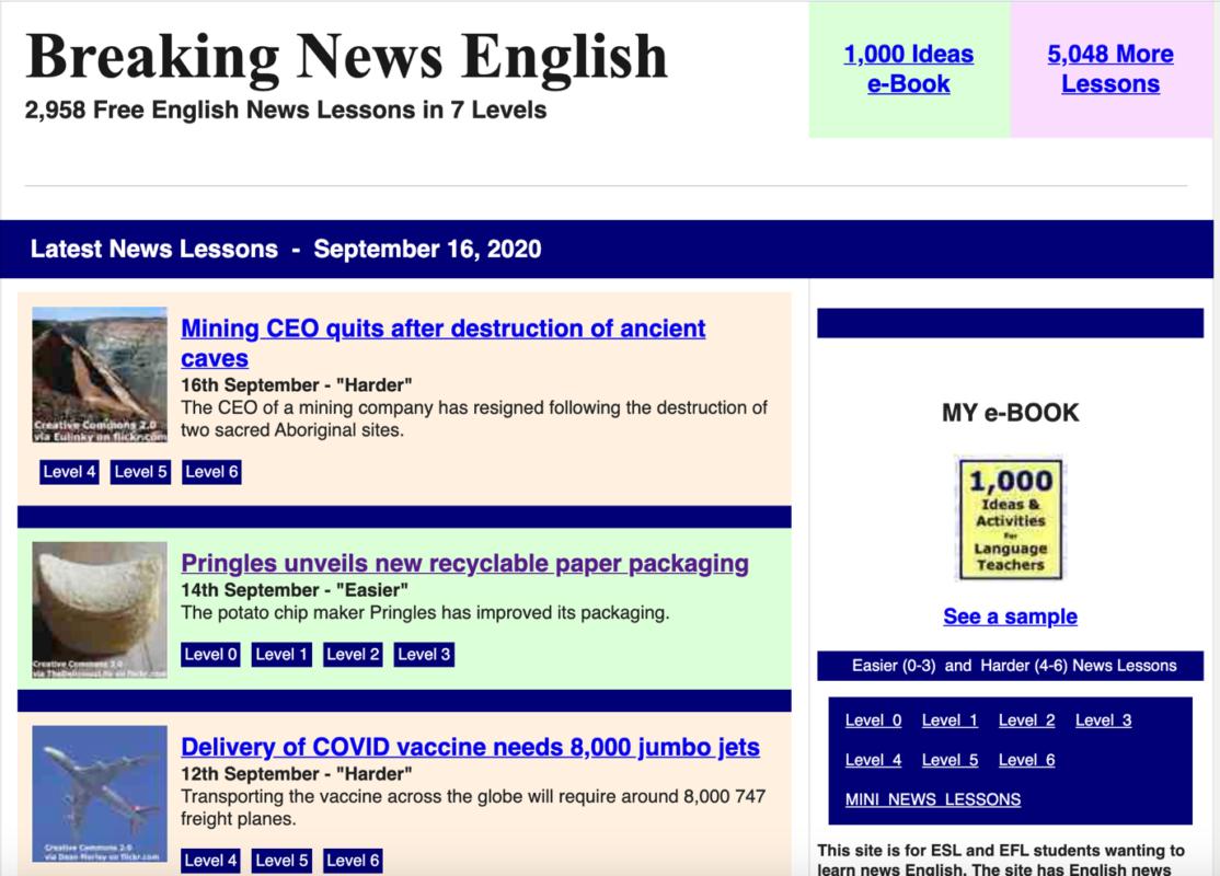 Breaking News English - Website luyện nghe IELTS cơ bản